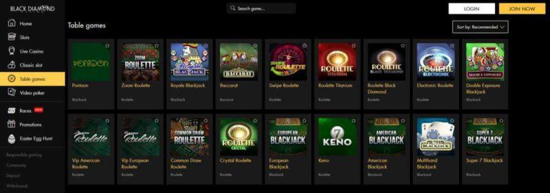 Black Diamond Casino Table Games