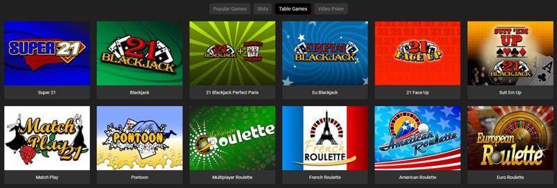 Yebo Casino Table Games