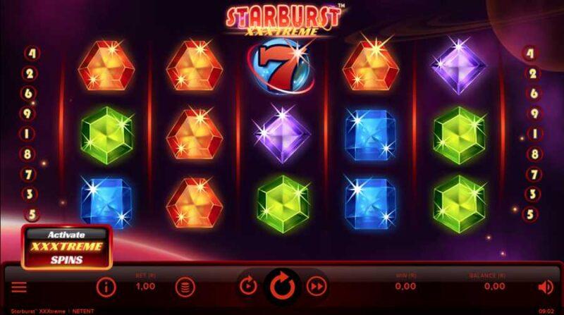 Starburst XXXtreme Video Slot Game Layout